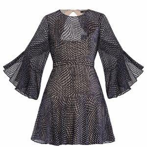 BCBGMaxazria Blue Baylee Velvet Burnout Dress